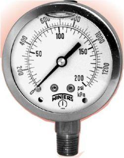 Winters Q805 Liquid Filled Pressure Gauge 0 160 PSI