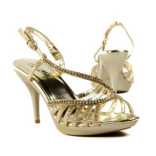 Shoes Crystal Strappy Bridal High Heel Sandal, Gold Glitter Shoes
