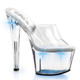 inch Stiletto Heel Lite Up Platform Slide Clear/Blue Lights Shoes