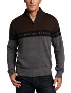Dockers Mens 1/4 Zip Sweater with Allover Fairisle
