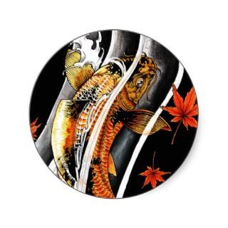 japanese Gold Lucky Koi Fish tattoo Round Stickers