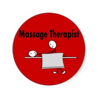 Massage Therapist Stick Person Round Sticker