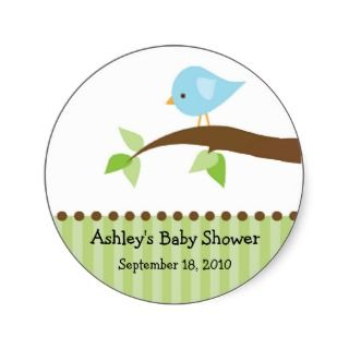 Baby Blue Bird Baby Shower Sticker