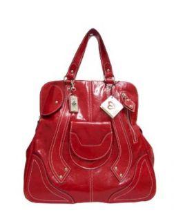 MEGGHI Italian Designer Handbag Tote in Red Leather