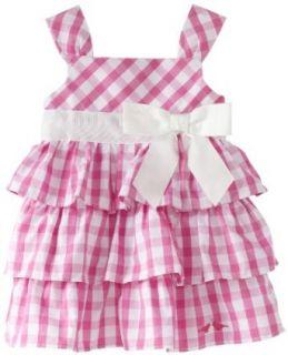 LilyBird Baby girls Infant Print Dress, Pink Plaid/White