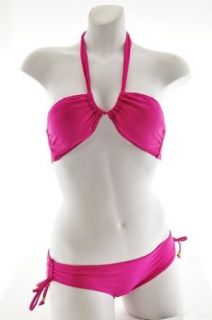 Womens Two piece halter bikini swimwear with removable