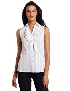 AK Anne Klein Womens Petite Solid Button Front Shirt