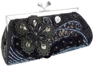 Vintage Beaded Stones Black Flower Baguette Clutch Evening
