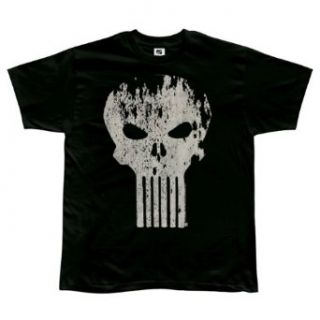Punisher   Distressed Logo Soft T Shirt   Small: Clothing