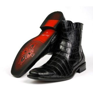 Ferro Aldo Mens Dress Boots Shoes Crocodile Zippered Styled in Italy