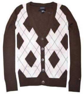 Tommy Hilfiger Women V Neck Cardigan Sweater (XS, Brown