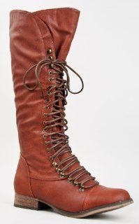 25 Women Military Style Lace Up Knee High Combat Fighting Boot Shoes