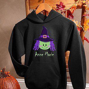Girls Personalized Halloween Sweatshirts   Witch Sports