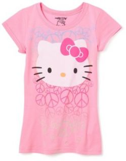 Hello Kitty Girls 7 16 Big Face Peace T,Pink,S (7/8