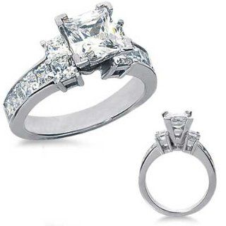 3.29 Ct.Princess Cut Diamond Engagement Ring with Side