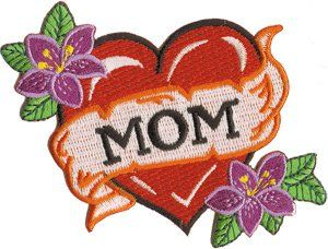 Tattoo Art   Flowers and Mom Heart Logo Patch Clothing