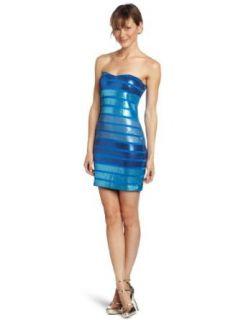 As U Wish Juniors Stripe Sequin Strapless Dress, Blue