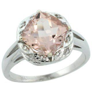 10k White Gold Diamond Halo Morganite Ring 2.7 ct