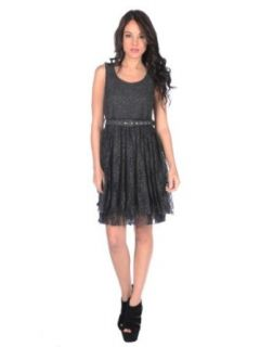 Gracia Womens Lacey Dress   Charcoal   Large: Clothing