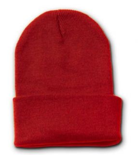 RED LONG WATCH CAP BEANIE SKI CAP CAPS HAT HATS CUFFED