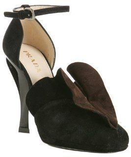 Prada black suede ruffle detail ankle strap pumps Shoes