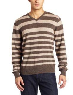 Williamson Mens 100% Cashmere Long Sleeve V Neck Stripe