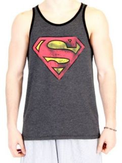 Superman Vintage Shield Adult Charcoal Black Tank Top