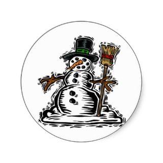 Kids Snowman Christmas Gift Tags Round Sticker