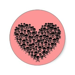 Black Skull Heart Sticker