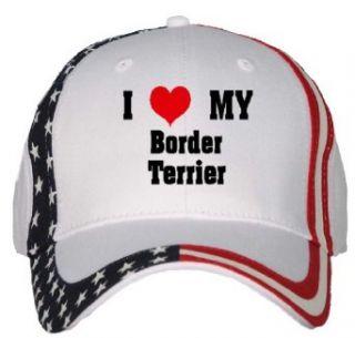I Love/Heart Border Terrier USA Flag Hat / Baseball Cap