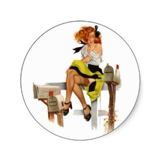Vintage Pin Up Waiting for The Mail Man Round Stickers