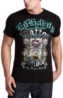 Ed Hardy Mens Foiled Basic T Shirt,Black,Medium Clothing