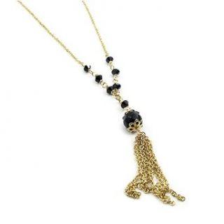 Gold Black Crystal Tassel Necklace Made with Swarovski