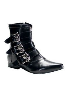 Mens Skull Biker Gothic Ankle Boot   9 Shoes