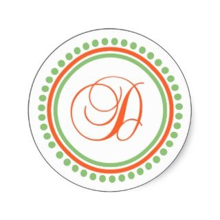 (Orange / Pale Green Dot Circle) Round Sticker