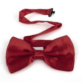 TopTie Mens Solid Red Pretied Satin Bowtie Bow Tie