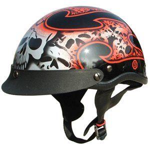 DOT Motorcycle Half Beanie Helmet Tribal Red Sports
