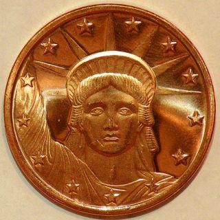 Trader 1 oz 999 Pure Copper Bullion 2012 Statue Of Liberty Design Coin
