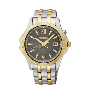 Seiko Kinetic Mens Grey Dial Two tone Stainless Steel Watch