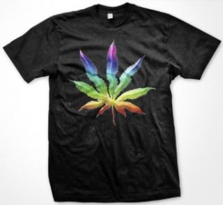 Psychedelic Rainbow Pot Leaf Mens T shirt, Funny Trendy