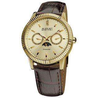August Steiner Mens Swiss Quartz Multifunction Diamond Strap Watch