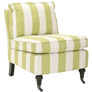 Bosio Striped Beige/Green Armless Club Chair