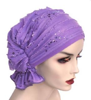 Turban Plus Abbey Cap in Ruffle Lilac Sequin: Clothing