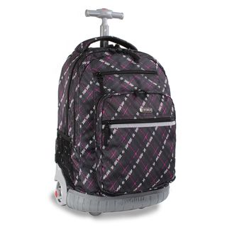 World Sunset Preppy Purple 19.5 inch Rolling Laptop Backpack