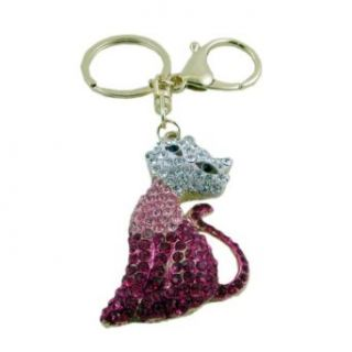 Pink Crystal Cat Purse Charm Keychain Clothing