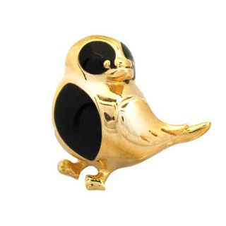 De Buman Gold plated Sterling Silver Enamel Bird Charm Bead