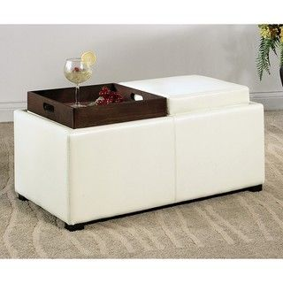 Abbyson Living Manhattan Bicast Leather Ottoman with 2 Trays