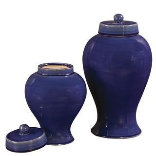 Cobalt Blue Glaze Ceramic Jars with Lids (Set of 2)