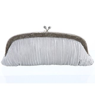 Carlo Fellini Silver Ruched Clutch Handbag