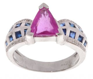 Encore by LeVian 18 kt. White Gold Pink Sapphire/Sapphire Diamond Ring